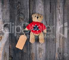 small brown old teddy bear with a paper blank tag
