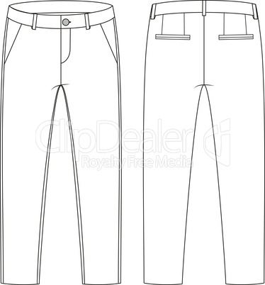 Fashion technical sketch of trousers in vector graphic