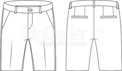 Fashion technical sketch of shorts in vector graphic