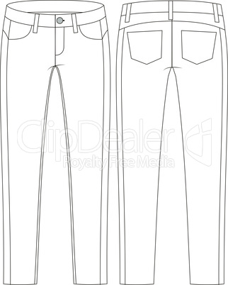 Fashion technical sketch of jeans in vector graphic