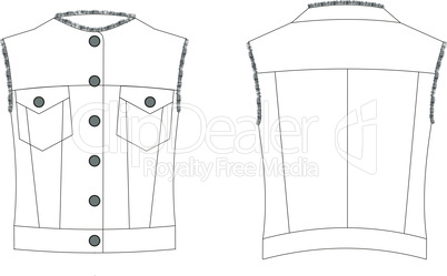Fashion technical sketch of waistcoat in vector graphic