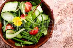 Spring salad with dandelions