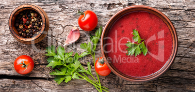Traditional cold gazpacho soup