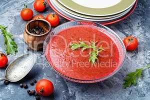 Spicy homemade gazpacho soup