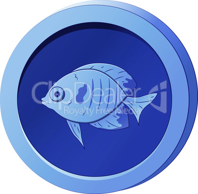 Blue coin with the image of a fish. Vector illustration for game design