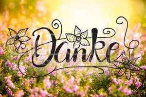 Erica Flower Field, Calligraphy Danke Means Thank You