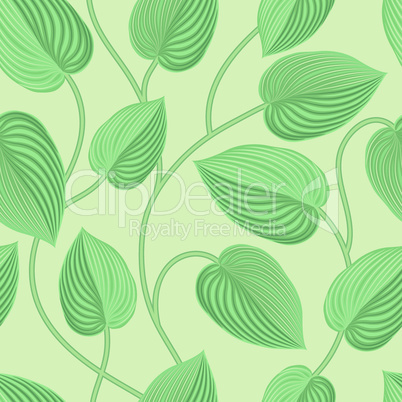Floral seamless pattern. Leaves background. Flourish garden leaf line art backdrop