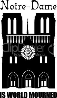Notre-Dame de Paris sign. Losted french travel landmark.