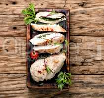 Sliced chicken breast with herb