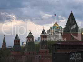 Moscow Russia View on Kremlin Towers on against cloudy sky.