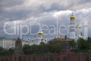 Moscow Russia View on Kremlin and Complex of Churches.