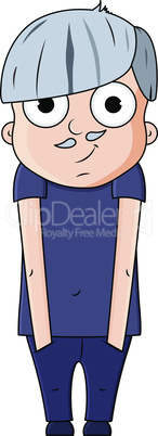 Cute cartoon young grandfather with happy emotions. Vector illustration