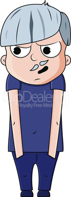Cute cartoon young grandfather with paranoid emotions. Vector illustration
