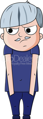 Cute cartoon young grandfather with jealous emotions. Vector illustration