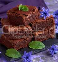 stack of square pieces of brownie