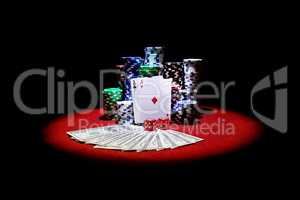 Four aces and dollars with stack of gambling chips and red dices