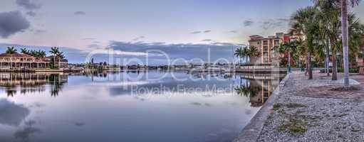 Dawn over the boats in Esplanade Harbor Marina in Marco Island,
