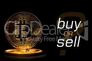 Bit coin isolated on black background with text BUY OR SELL