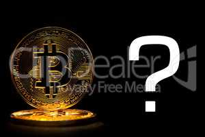 Bit coin isolated on black background with text question