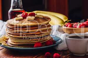 Pancakes with Tea Cup and Fruits.