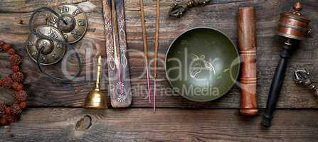 Tibetan singing bowl and other religious ritual instruments for