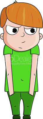 Cute cartoon red boy with jealous emotions. Vector illustration