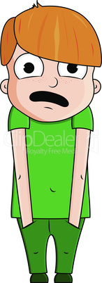 Cute cartoon red boy with surprise emotions. Vector illustration