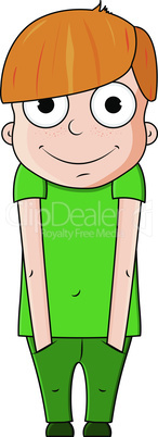 Cute red cartoon boy with happy emotions. Vector illustration