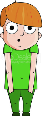Cute cartoon boy with surprise emotions. Vector illustration