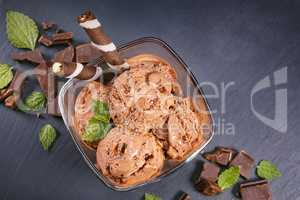 Scoops chocolate ice cream in glass bowl
