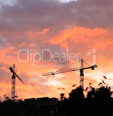 Crane Tower on Sunset Sky Background
