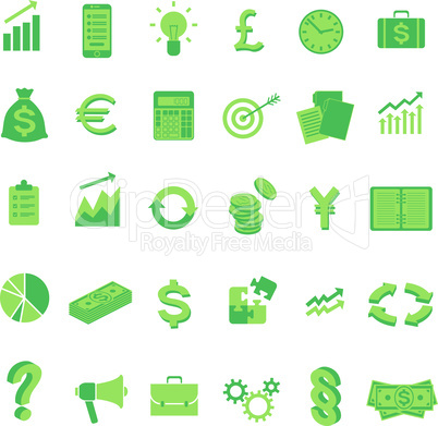 Set of vector business symbol icons. Isolated.