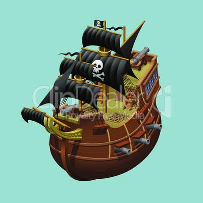 Pirate sailing old ship axonometric vector illustration