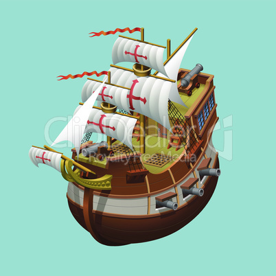 Galleon sailing old ship axonometric vector illustration