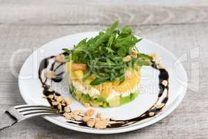 Salad with avocado, mango and mozzarella