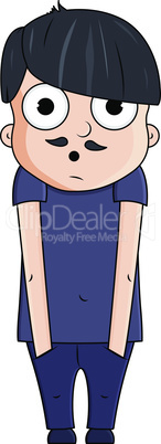Cute cartoon young man with surprise emotions. Vector illustration