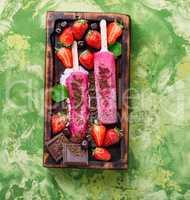 Strawberry ice cream or popsicles