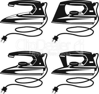 Set of silhouettes of various irons