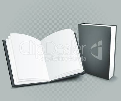 books on gray transparent background