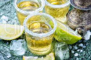 Tequila shot with lime and salt