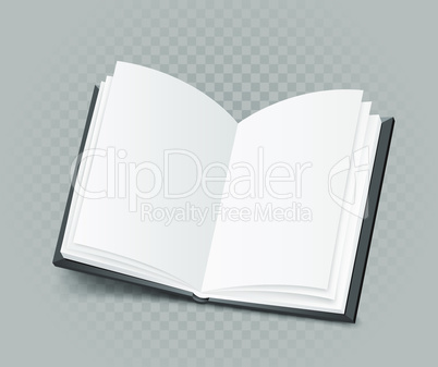 open book on gray transparent background
