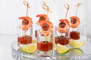 Appetizer shrimp with chorizo sausage