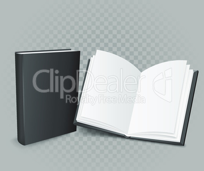 open and closed book on gray background