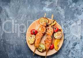 Salmon kebab on a plate