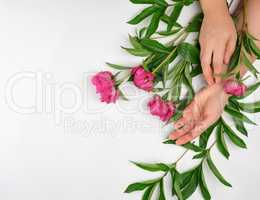 two hands of a young girl with smooth skin and a bouquet of red