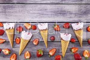 Ice cream cones with strawberry