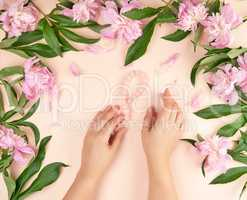 two hands of a young girl with smooth skin and a bouquet of pink