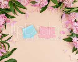 empty pink and blue paper stickers on a peach background