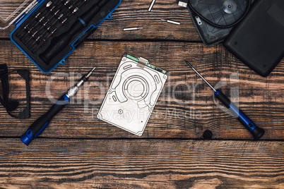 HDD with Precision Screwdriver on Wooden Table