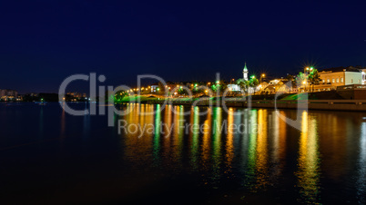 The city of Kazan during a beautiful summer night with multicolor illumination